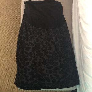 Black leopard maternity skirt